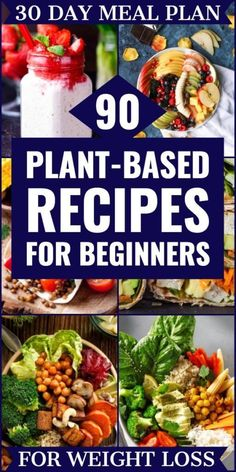 If you're looking for tips on how to start a Plant-Based Diet to lose weight or eat healthier then check out this beginner's guide to the Plant-Based Diet! You'll find grocery lists and 90 simple clean eating recipes for breakfast, lunch, and dinner! Plant Based Diet Meals, Plant Based Meal Planning, Plant Based Eating, Plant Base Diet Recipes, Plant Based Dinner Recipes, Plant Based Diet Plan, Whole Plant Based Diet, Vegan Recipes Plant Based, Weight Loss Meals