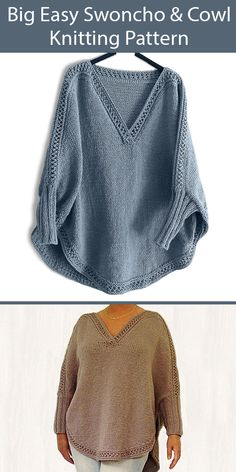Swoncho Knitting Patterns- In the Loop Knitting Easy Sweater Knitting Patterns, Knit Vest Pattern, Knitting Machine Patterns, Shawl Patterns, Knit Shrug, Knitted Poncho, Poncho Sweater With Sleeves, Crochet Shirt, Crochet Vests