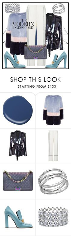"""""""How to wear: Sequin"""" by elenzark ❤ liked on Polyvore featuring Shrimps, Balmain, BCBGMAXAZRIA, Chanel, Links of London, Mulberry and Carolee"""