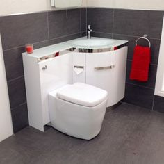 Vega Right Hand Corner Combination Unit With Toilet And White Basin