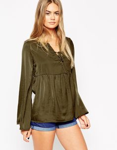 ASOS Peasant Blouse With Lace up Detail