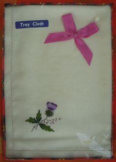 Vintage Tray Cloth - Needlepoint Scottish Thistle - Unopened in Box - Scotland