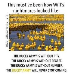 Haha, this is just too funny! The bottom part was like what they found in Benedict's room but instead of 'infernal devices' they used 'duck army'!