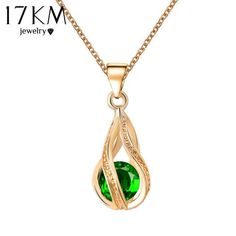 17KM Long Austrian Crystal Water Drop Necklaces & Pendants Gold Color Silver Color