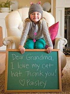 This is a nice way for kids to do thank you notes - but once they can write themselves, they should do the writing.