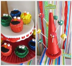 Cupcakes and cake pops decorated as favorite Sesame Street characters.  See more Elmo birthday party ideas at www.one-stop-party-ideas.com