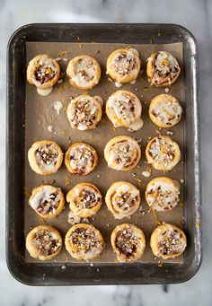 Homemade cinnamon rolls can take forever to make, but this alternative is quick, easy, and delicious! Make these little rolls with refrigerated crescent dough, nuts, orange zest, honey, and other yummy ingredients. Whether you've got breakfast for two or a whole brunch party to please, these little glazed rolls will be a big hit.