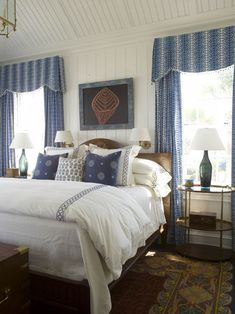 The simple cornaces make this an inviting room! Phoebe Howard: Lovely blue cottage bedroom with beadboard vaulted ceiling. Guest Bedrooms, Master Bedroom, Bedroom Decor, White Bedroom, Bedroom Ideas, White Bedding, Calm Bedroom, Bedroom Scene, Blue Bedrooms