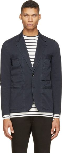 Paul Smith Red Ear Long sleeve twill blazer in deep navy blue. Notched lapel collar with button closure. Two-button closure and welt pockets at front. Scoop pockets at front. Welt and patch pockets at interior. Partially lined. Tonal stitching. Single buttons at cuffs.