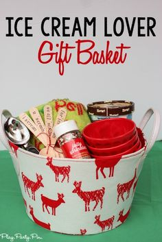 This is such a fun gift basket idea for someone who loves ice cream, and I LOVE those hand-stamped spoons, so cute!