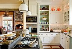 color of back splash and inside of cabinet would go well with the Manchester tan in DR/LR