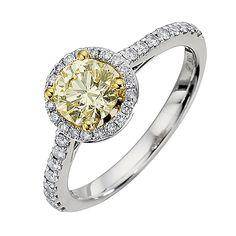 18ct white %26 yellow gold 1 carat lemon diamond ring - Product number 8692319