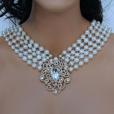 Breakfast at Tiffany's Multi Strand Pearl Bridal Statement Necklace