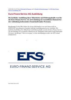 Euro-Finanz-Service AG Ausbildung