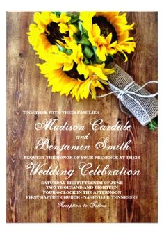 Sunflower Bouquet Rustic Country Wedding Invitations.  Easy to edit template.  Two Sided Design.  40% OFF when you order 100+ Invites.  #wedding