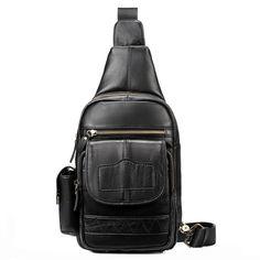 Men Genuine Leather Hot-sale Crossbody Bag Retro Chest Bag Shoulder Bag