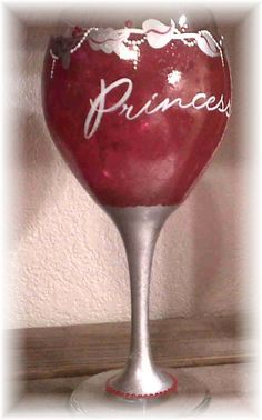Hand Painted Wine Glass Princess