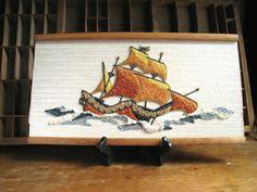 Mid Century Pebble Art Nautical Decor Ship Gravel Art by zelda110