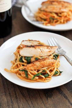Sun-Dried Tomato Pesto Pasta with Spinach & Blackened Chicken from @Cassie Laemmli | Bake Your Day