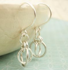 Silver Earrings Little Orbits by unkamengifts on Etsy, $10.00