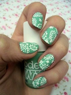 mint green and white Paisley nails