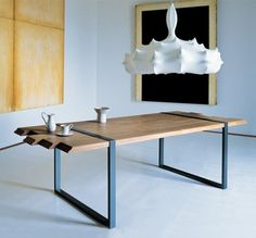 Modern Wood And Metal Dining Table Wood board metal legs dining