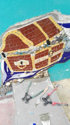 Mosaic Wall by Ricardo Stefani & Julia Gurwicz Mosaic Wall, Skateboard, Sea, Mosaic Art, Artists, Skateboarding, Skate Board, The Ocean, Ocean