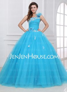 Quinceanera Dresses - $192.49 - Ball-Gown One-Shoulder Floor-Length Satin Tulle Quinceanera Dress With Ruffle Lace (021017437) http://jenjenhouse.com/Ball-Gown-One-Shoulder-Floor-Length-Satin-Tulle-Quinceanera-Dress-With-Ruffle-Lace-021017437-g17437