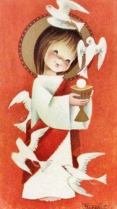 Estampa de Comunión de Joan Ferràndiz, año 1964 Pictures To Paint, Print Pictures, Mother Mary Images, Jesus E Maria, Angel Artwork, Vintage Holy Cards, Christmas Decoupage, Illustrator, Poster Prints