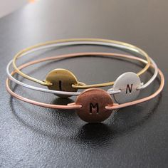 Mixed Metal Bangles Three Initial Monogram by FrostedWillow, $71.00