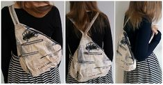 Sew Scoundrel: Tutorial: DIY backpack / sling bag with lining and pockets Diy Backpack, Sling Backpack, Diy Bag Video, J Bag, Diy Sewing Projects, Bag Patterns To Sew, Diy Christmas Gifts, Purses And Handbags, Backpacks