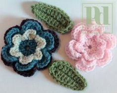 If you're looking for flowers to crochet you might enjoy these Crochet Flowers with Leaves. Use your favorite colors to work these up. Instructions for single & multi-color flower and leaves are included. Add a flower to a crochet hat or crochet bag pattern for a cute embellishment.
