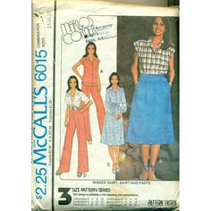 Marlo's Corner. Vintage McCalls sewing pattern for womens fashions from the 1970s. Sew a shirt style dress, skirt, shirt and wide leg, high waist pants.