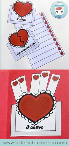 Lapbook de la Saint-Valentin – French Valentine's Day Lapbook: interactive foldable activities, and more! For French Immersion or Core French classrooms French Teaching Resources, Teaching French, Teaching Spanish, Valentine Crafts For Kids, Valentines Day Activities, French Practice, French Pictures, Graphing Activities, French Education