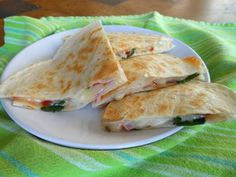 Robin Miller's healthified quesadillas - pepper jack cheese, onion and ciltantro - could easily add a meat for more protein