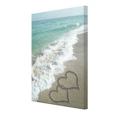 Two Sand Hearts on the Beach, Romantic Ocean Canvas Prints by cutencomfy