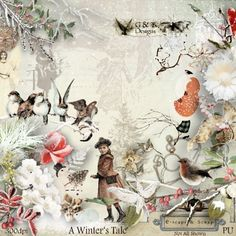 G & T DESIGNS' A WINTER'S TALE MEGA KIT .A gorgeous winter themed collection that includes 127 Elements, 20 Papers, 10 Clusters. 5 Frames. 15 Word Arts. Now available at E-scape and Scrap