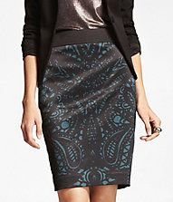 $69.99 Cute and classy Lace Print Satin Pencil Skirt - As recommended by Express' Twitter team!