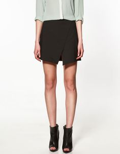 black front split skirt - zara