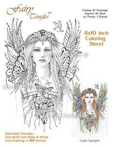Fairy Flutters Fairy Tangles Coloring Sheet door FairyTangleArt