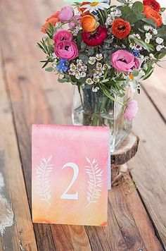 Dress Up Your Reception With These Free Wedding Table Numbers: Ombre Watercolor Wedding Table Number Templates from Swooned