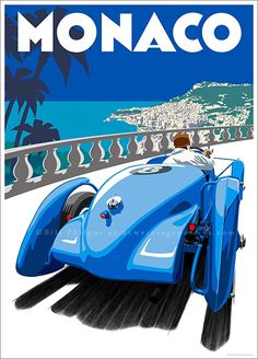 """vintage """"Delahaye"""" Monaco poster. This Art Deco Monaco poster features the 1936 Delahaye 135S, designed and built by Jean Francois to bring the ailing Delahaye company into Motorsport for the first time. The poster was designed & illustrated by Bill Philpot for the Johnnie Walker """"Gentleman's Wager"""" commercial starring Jude Law."""