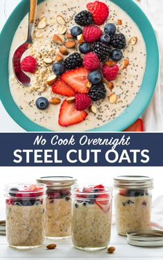 Easy, healthy no cook breakfasts! Made with almond milk, peanut butter, and any other mix-ins you love, this high protein vegan recipe is endlessly customizable. Overnight Oats In A Jar, Overnight Steel Cut Oats, Overnight Oats Almond Milk, Protein Overnight Oats, Fettuccine Alfredo, High Protein Vegan Recipes, Almond Milk Recipes, Healthy Recipes, Food Porn