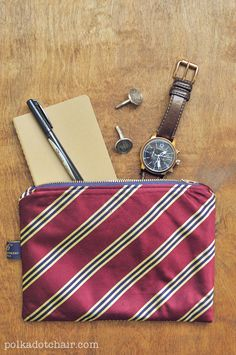 DIY Necktie Zip Pouch - upcycled from leftover ties, would be a great Father's Day Gift!