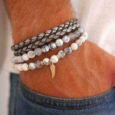 Men's Bracelet Set - Men's Beaded Bracelet - Men's Leather Bracelet - Men's Jewelry - Men's Gift - Boyfriend Gift - Husband Gift - Male by Galismens on Etsy https://www.etsy.com/listing/533804773/mens-bracelet-set-mens-beaded-bracelet