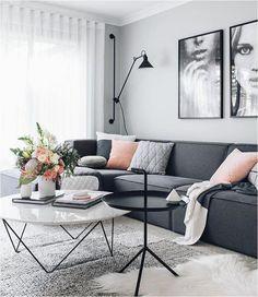 living room dark grey lounge pink cushions artwork wood rh pinterest com