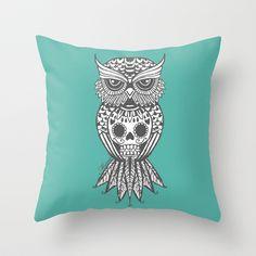 Teal sugar skull owl Throw Pillow by Missa Designs - $20.00