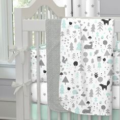 Mint and Gray Baby Woodland Crib Bedding by Carousel Designs.