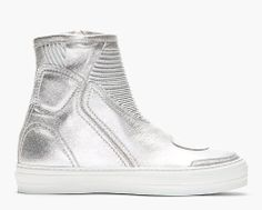 ALEXANDER MCQUEEN // Silver Leather High Top Sneakers