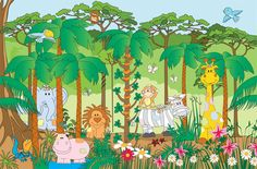 jungle mural Jungle Theme Nursery, Nursery Themes, School Items, Safari Animals, Wall Murals, Baby Room, Kids Room, Projects To Try, Preschool